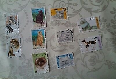 Cat Postage Stamps from around the World x 10