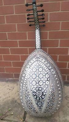 Arabic Oud Mother Of Pearl Walnut String Instrument Fretless Lute+Padded Bag UK