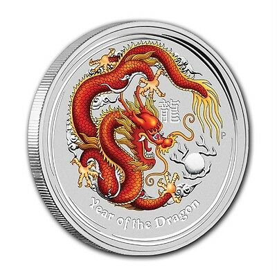 2012 Year of the Dragon Perthmint 2 oz Silver Color Coin Beautiful