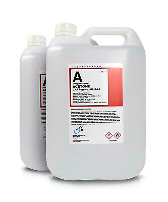 2 x 5L Pure Acetone Containers  - Acrylic Nail Remover Nail Polish Remover 99.8%