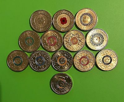 $2 Coloured UNC Set 2012 - 2017, Poppy, Coronation, Remem, ANZAC, Olympic13coins