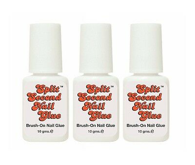 3-PACK Split Second Brush On Nail Glue - 10gm