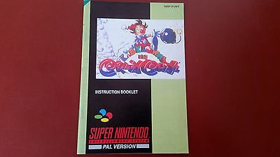 Kid Klown In Crazy Chase Snes Super Nintendo Instruction Booklet