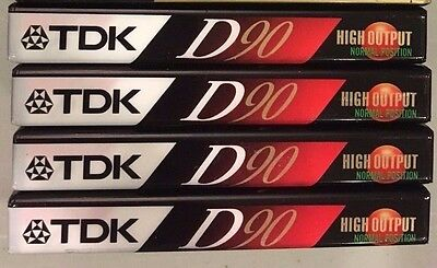 Package of 4 TDK Type I Normal Bias Blank Audio Cassette Tapes 90 Minutes NOS