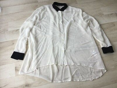 Uk Size 16 Women's Ladies Shirt Top With Black Collar And Cuffs Clothing
