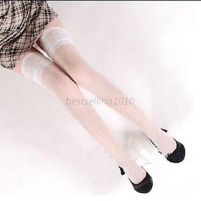 White Women Lace Stockings Thigh High Over Knee Pantyhose Tights Socks