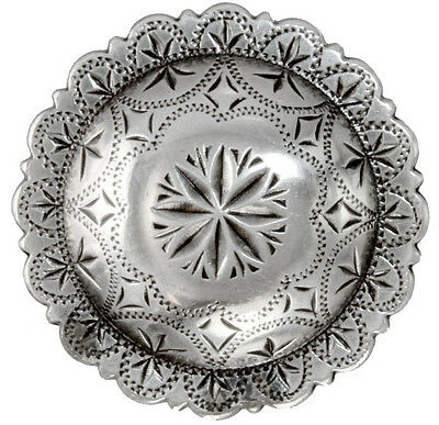 "Antique Silver, Scallop Edge, Engraved Windrose Concho 1 1/2"" (38mm)"