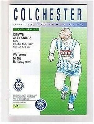 Colchester United Crewe Alexandra FC 16/10/92 (Layer Road) football programme