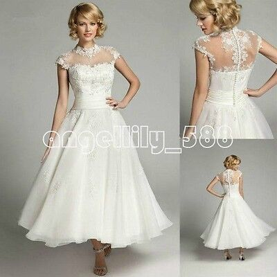 White Ivory A Line short Wedding dress Illusion  choker Neck Bridal Gown custom