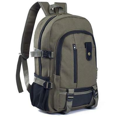 Vintage Womens Mens Canvas Backpack Travel Rucksack Satchel Hiking Shoulder Bag