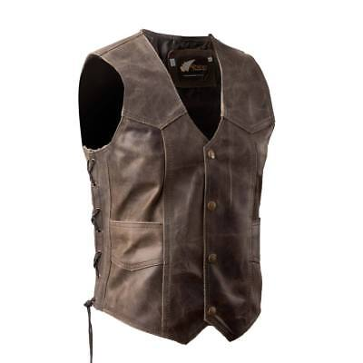 Brown Distressed Leather Vest with Stud Buttons S-8XL