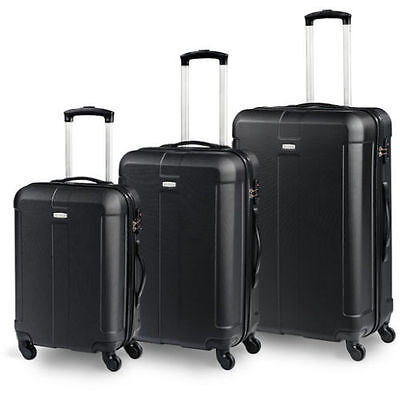 Set 3 Trolley Unieuro - Grande Medio E Piccolo Cabina - Valigie In Abs Nere