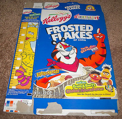 Kellogg's Frosted Flakes Cereal Box Flat Sesame Street Ernie & Bert's Adventure