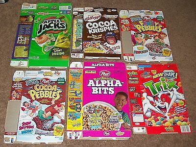 6 Diff. 97-2007 Vintage Cereal Box Flats Cocoa Pebbles Trix Apple Jacks Etc.