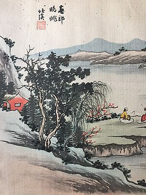 ANTIQUE ASIAN ORIENTAL ORIGINAL  SIGNED WATERCOLOR PAINTING ON SILK 1900's