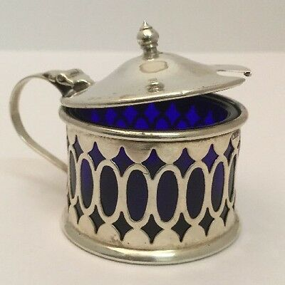 Gorgeous Antique Pierced Sterling Silver Mustard Pot - William Wilkinson, 1914.