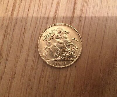 22 Carat Gold Half George V sovereign Coin Dated 1912