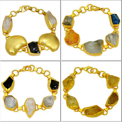 "Citrine & Multi Color Gemstone 6-7.5"" Wholesale Lot 4pcs Gold Bracelets Jewelry"