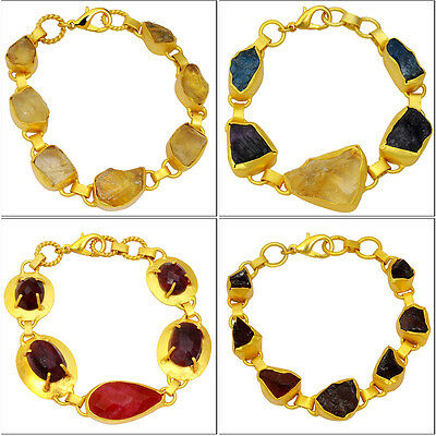 "Genuine Ruby & Multi Color Gemstone 6-7.5"" Wholesale Lot 4pcs Gold Bracelets"