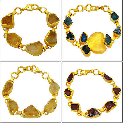 "Moldavite & Muti Color Gemstone 6-7.5"" Wholesale Lot 4pcs Gold Bracelets Jewelry"