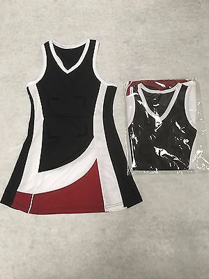 Netball Dress - Black / White / Maroon - Size 6,8,10,12,14 - BRAND NEW - LIMITED