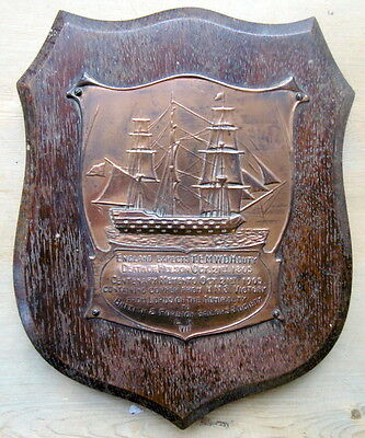 1905 Oak Plaque Containing Copper From Hms Victory Commemorating Death Of Nelson