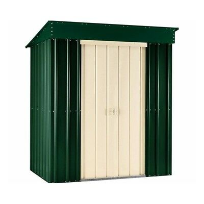 8X4 Pent Heritage Green Metal Garden Shed
