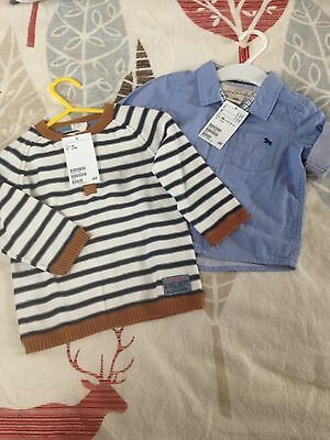 Boys New Smart Shirt And Cardigan 4-6 Months