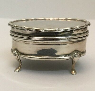 Antique Sterling Silver Footed Box, For Baby Teeth? / Trinket. London. 1912.