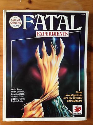 Call of Cthulhu 1920s FATAL EXPERIMENTS 2328 - Chaosium 1990 RPG