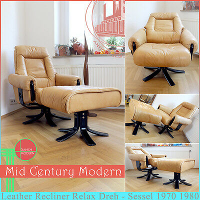 Danish Vintage Mid Century Modern Leather Recliner Relax Chair Armchair Sessel