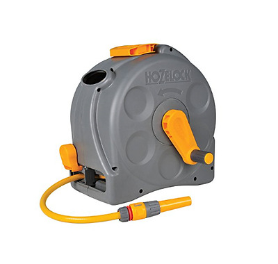 Hozelock 2In1 Compact Enclosed Garden 25 M Hose Reel And Connectors Flexible New