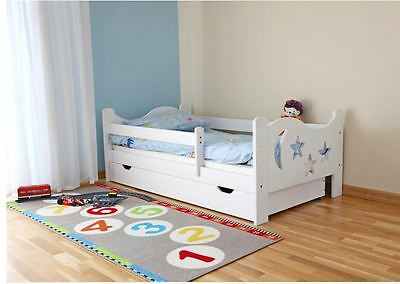Nicolas Children Kids Toddler Bed Solid Wood With Mattress and Drawer WHITE