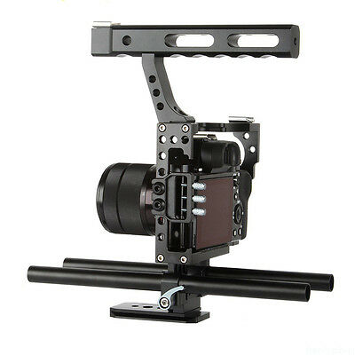 Black Camera Video Cage Kit Handle Grip Stabilizer for DSLR Sony A7 A7S A6300