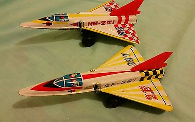 Tin Toy Friction Powered Fighter Jets