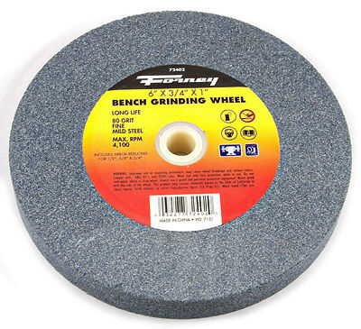 "FORNEY INDUSTRIES INC Bench Grinding Wheel, Fine 80 Grit, 6"" X 3/4"" X 1"" Arbor"
