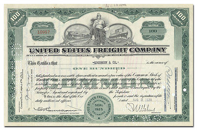 United States Freight Company Stock Certificate (Great Vignette!)