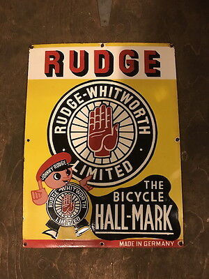 Rudge Whitworth Bicycle Motorcycle Porcelain Enamel Sign Colourful Old Original