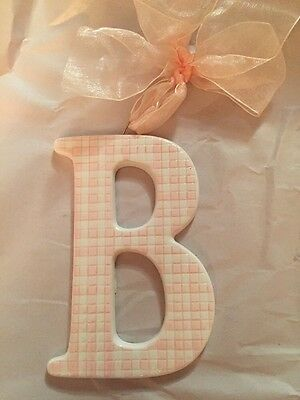 Checkered Pink And White Ceramic Letter B For Baby Girl Nursery