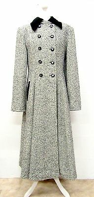 VINTAGE 80s BLACK WHITE WOOL & CASHMERE SMART LONG RIDING COAT SIZE 14 - LOUISA