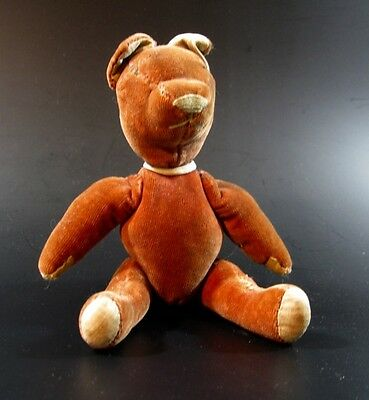 Ancien Petit Ours Orange Peluche Vintage Teddy Bear