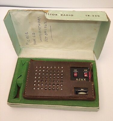 Vintage, Ajax Deluxe, Transistor Radio TR-220 In Box Working, New Battery,1963
