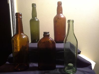Assorted Amber Glass Vintage Alcohol Whiskey Wine Sherry Bottles