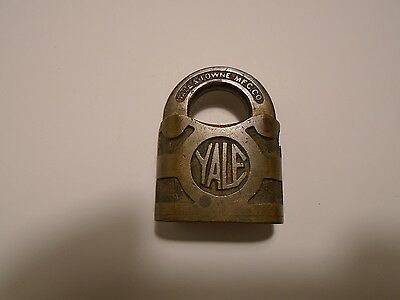 Vintage Antique Old Miniature Small Brass Yale Padlock Lock Y&T Logo No Key