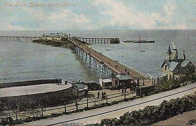 Old Valentines Postcard 1909 - Weston Super Mare - Pier And Paddle Steamer