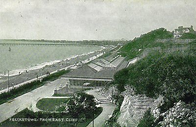 Old Photochrom Postcard Circa 1912 - Felixstowe From East Cliff