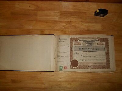 1919 Stock Certificate Book Athletic Supply Co 56 Used 27 Unused -Engraved Eagle