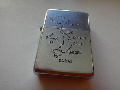 "Year 1965 Zippo Lighter Map Of VIETNAM And ""CAN THO 1965"" From Vietnam War Era"