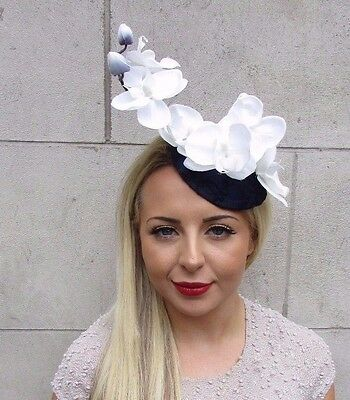 Navy Blue White Cream Orchid Flower Fascinator Hat Wedding Races Hair Clip  3183 1d93cdabbb1