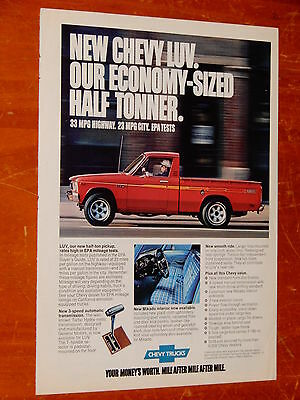 1976 Chevy Luv Pickup Truck In Red Ad + Ford Mustang Ad On Back / Vintage 70S